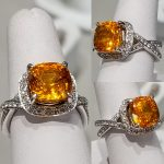 Orange sapphire diamonds white gold ajaffe designer jewelry