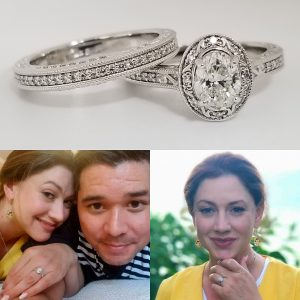 Vintage Oval Halo Engagement Ring