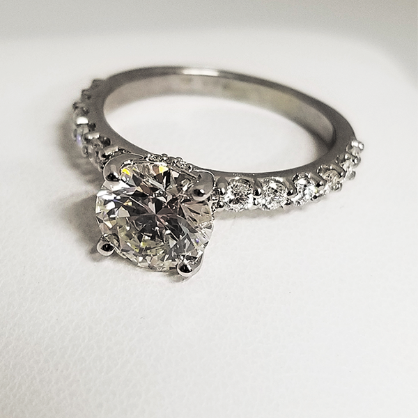 Round Cut Diamond Accented Solitaire