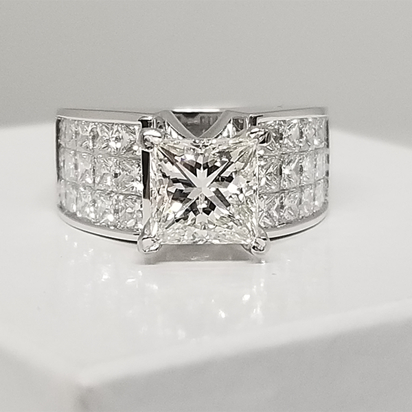 2 carat princess cut white gold engagement ring with invisible set diamond accents