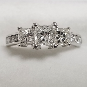 past present future engagement ring 3 stone princess cut diamond band engagement ring