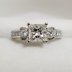 Past Present Future Engagement Ring 3 Stone Princess Cut Diamond Accents