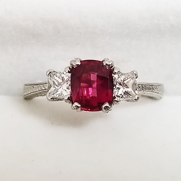 Ruby Engagement Ring with Diamond Accents