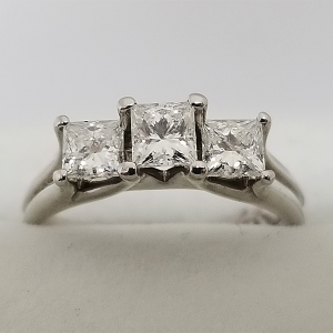 Past Present Future 3 Stone Engagement Ring Princess Cut