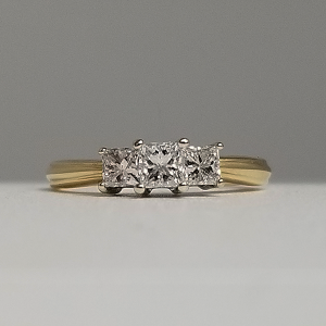 past present future 3 stone engagement ring