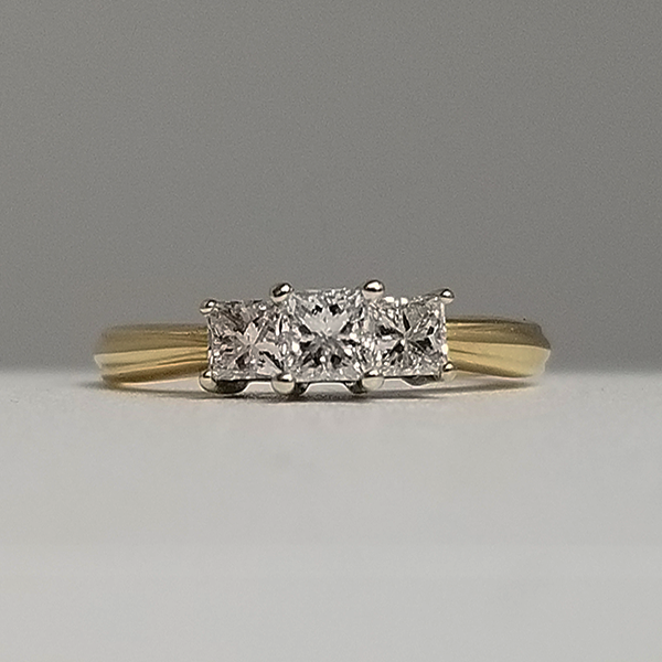 Yellow Gold Small 3 Stone Princess Cut Promise Ring