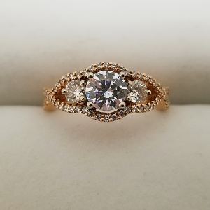 Rose Gold Past Present Future Engagement Ring 3 Stone Diamond