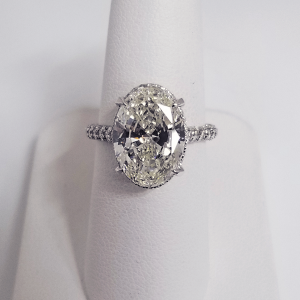 oval solitaire diamond accent engagement ring