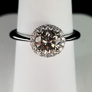 champagne diamonds halo engagement ring