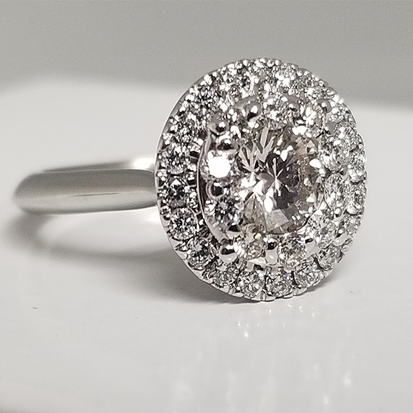 Cluster Center Engagement Ring with Round Haloo