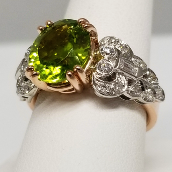 Peridot Vintage Upcycled Piece in Rose Gold