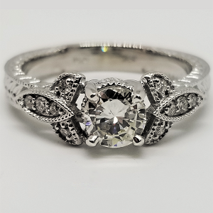 transitional cut diamond vintage inspired engagement ring