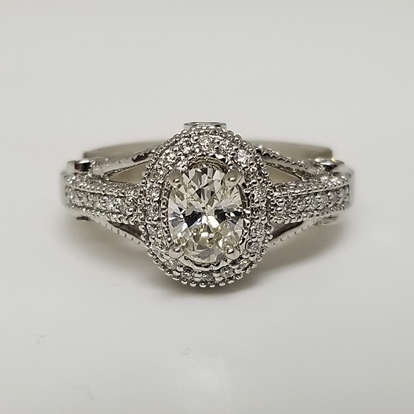 Custom Engagement Ring With Oval Diamond Pave Halo