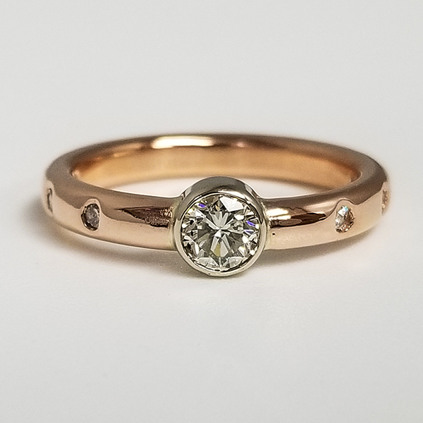 Rose Gold Bezel Set Solitaire With Gypsy Set Flush Mounted Accent Diamonds on Band