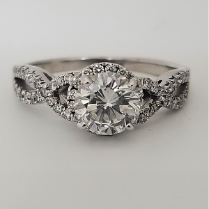 Round Halo Engagement Ring Diamond Accent Twisted Band