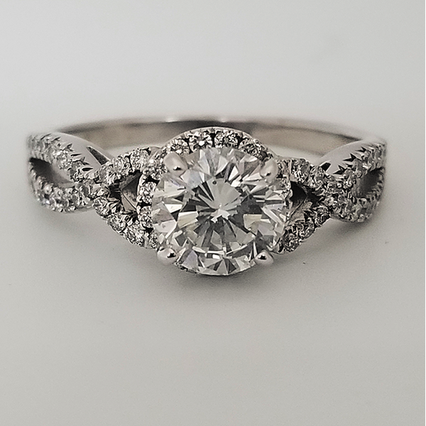 Round Halo Ring With Diamond Accented Twisted Band