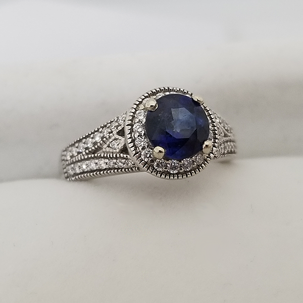 sapphire engagement ring vintage style halo