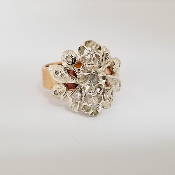 Rose Gold Vintage Upcycled Piece with Rose Cut Diamonds