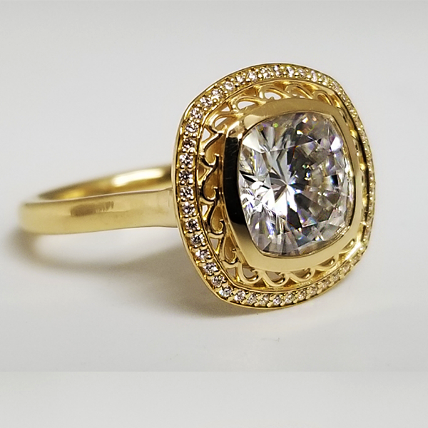Vintage Inspired Yellow Gold Halo Ring