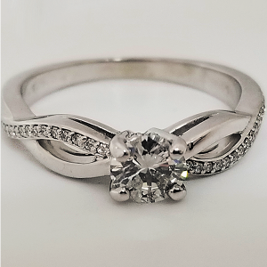 Twisted Band Solitaire Engagement Ring