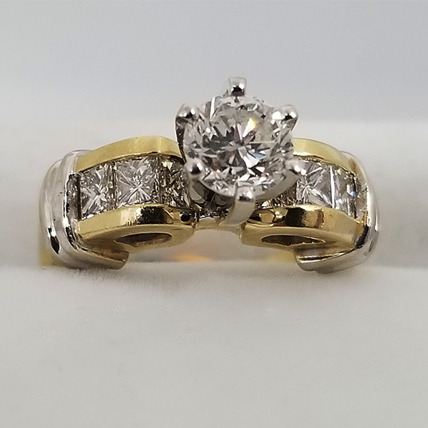 Two Tone Round Cut Engagement Ring With Channel Band