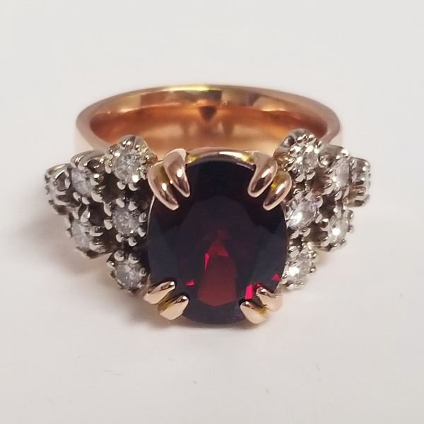 custom ring 5ct garnet ring in rose gold with diamond accents