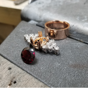 beginning process of custom garnet ring