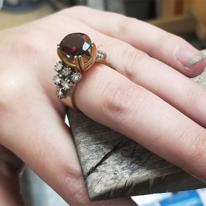 stone setting for custom garnet ring
