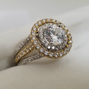 Two Tone Double Halo Engagement Ring