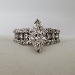 Marquise Solitaire Engagement Ring with Diamond Band
