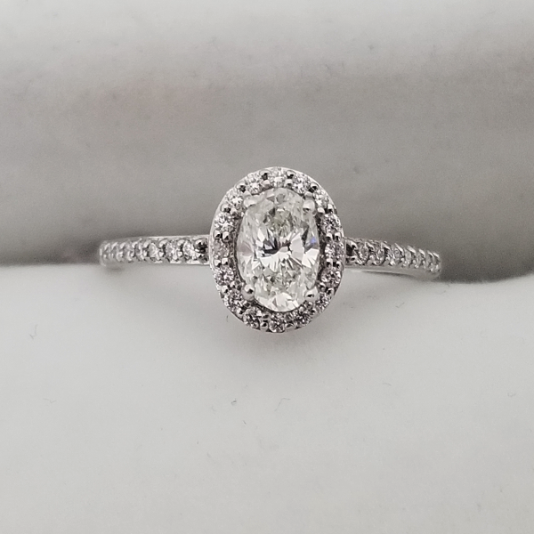 Small Oval Halo Ring with Diamond Accents