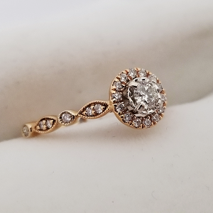 Rose Gold Halo Engagement Ring with Vintage Style Band