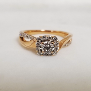 Rose Gold Halo Engagement Ring with Inifinity Band
