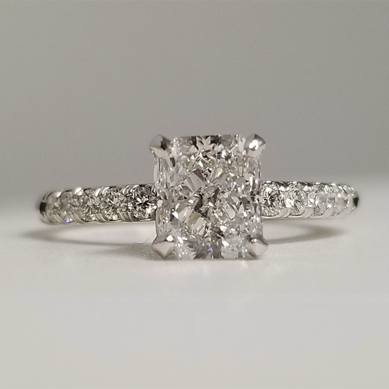 Cushion Cut Center with Diamond Accented Band Engagement Ring Near Tempe, AZ
