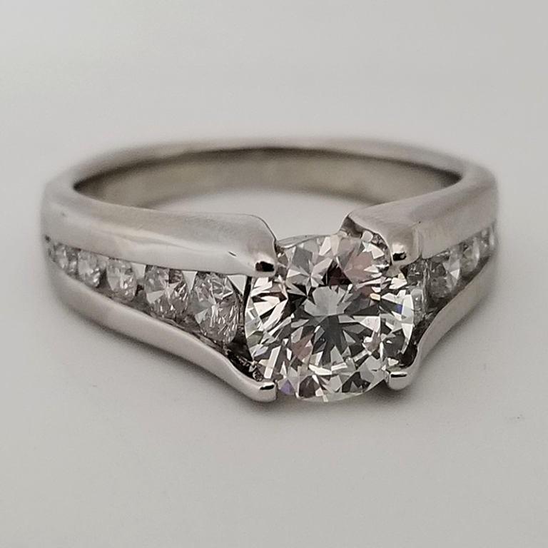 Round Diamond Engagement Ring with Channel Set Band