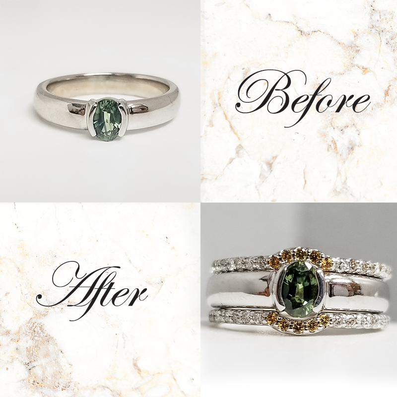 Oval Green Sapphire Engagement Ring with Diamond Wedding Band Tempe, AZ