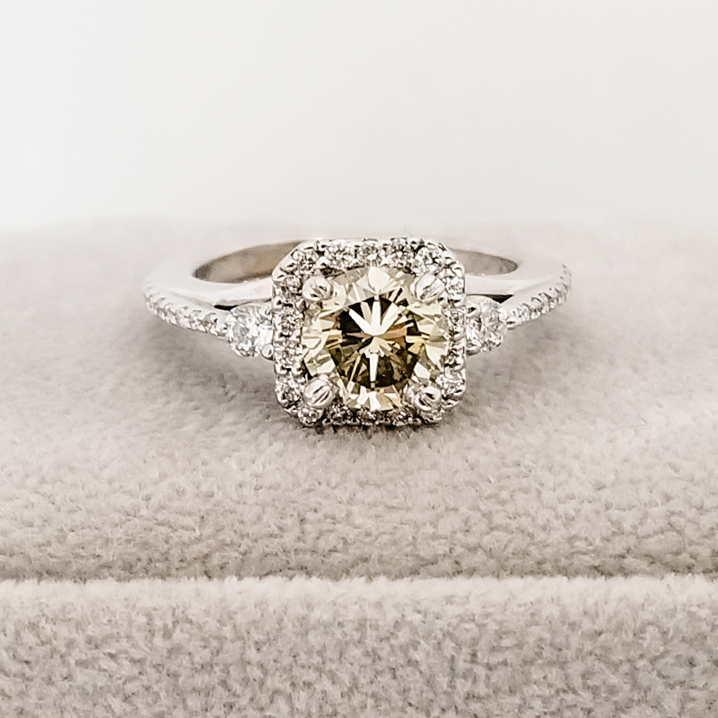 champagne diamond halo engagement ring with 2 side accent diamonds