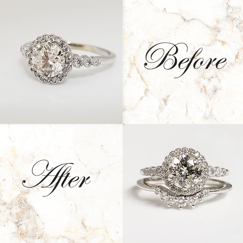 Vintage inspired engagement ring with contour wedding band