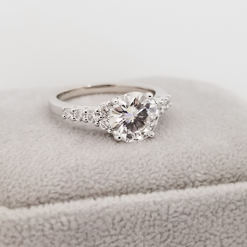 Round Moissanite Engagement Ring with Diamond Accents