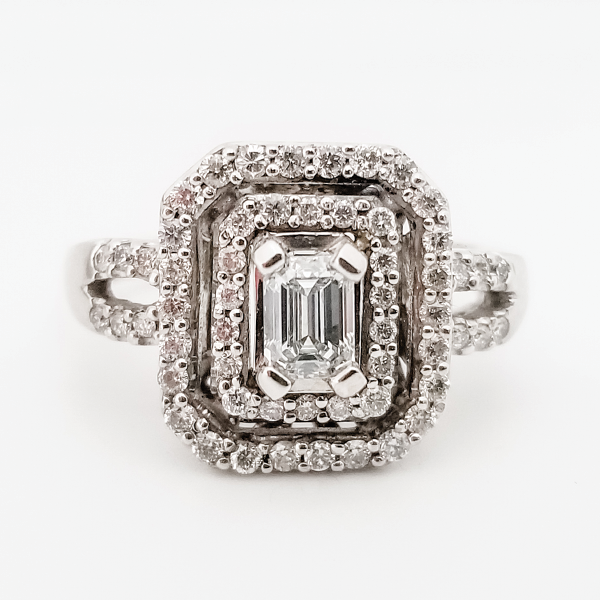 Emerald Cut Double Halo Engagement Ring with Split Shank
