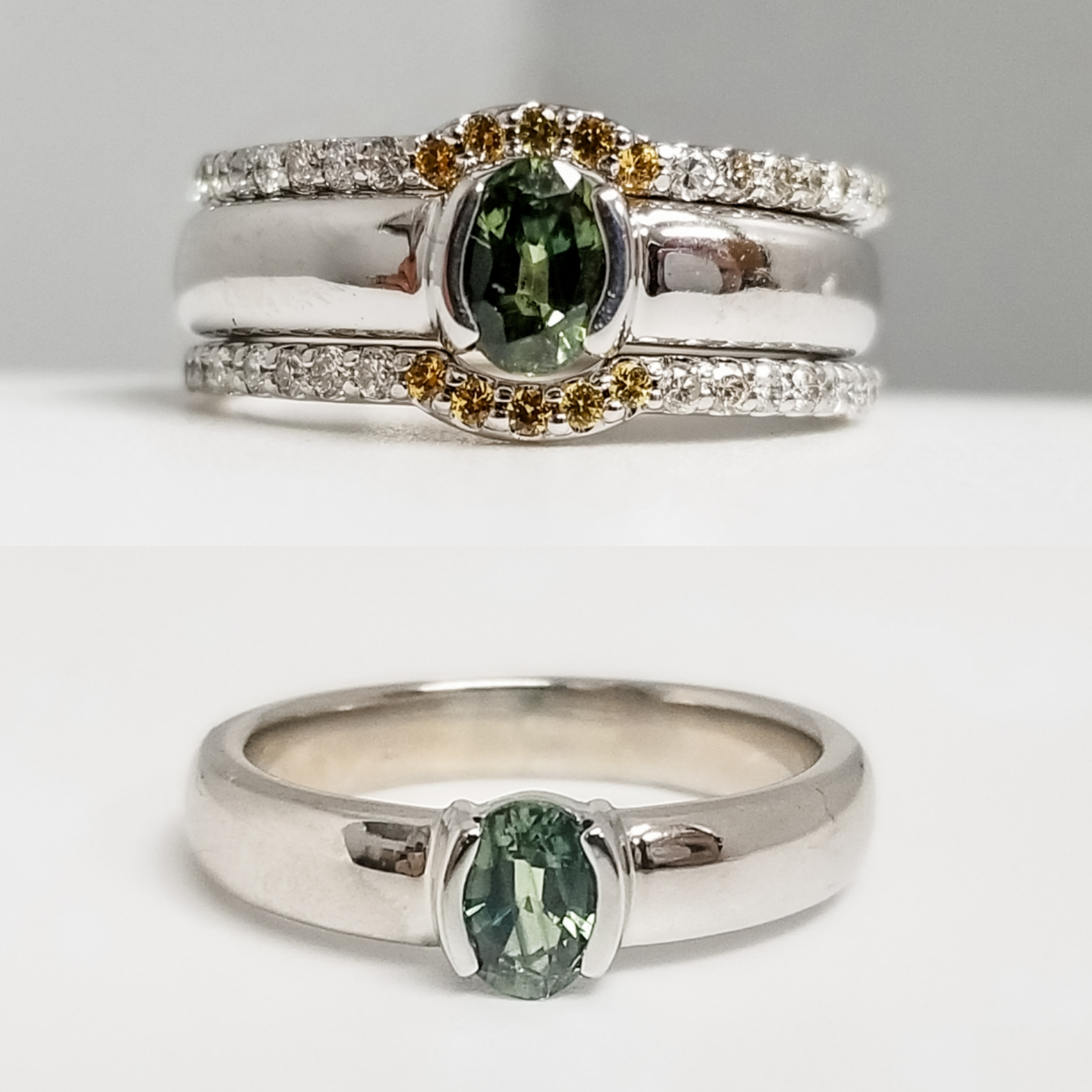Custom Green Sapphire Engagement Ring with Custom Fitted Enhancer Wrap