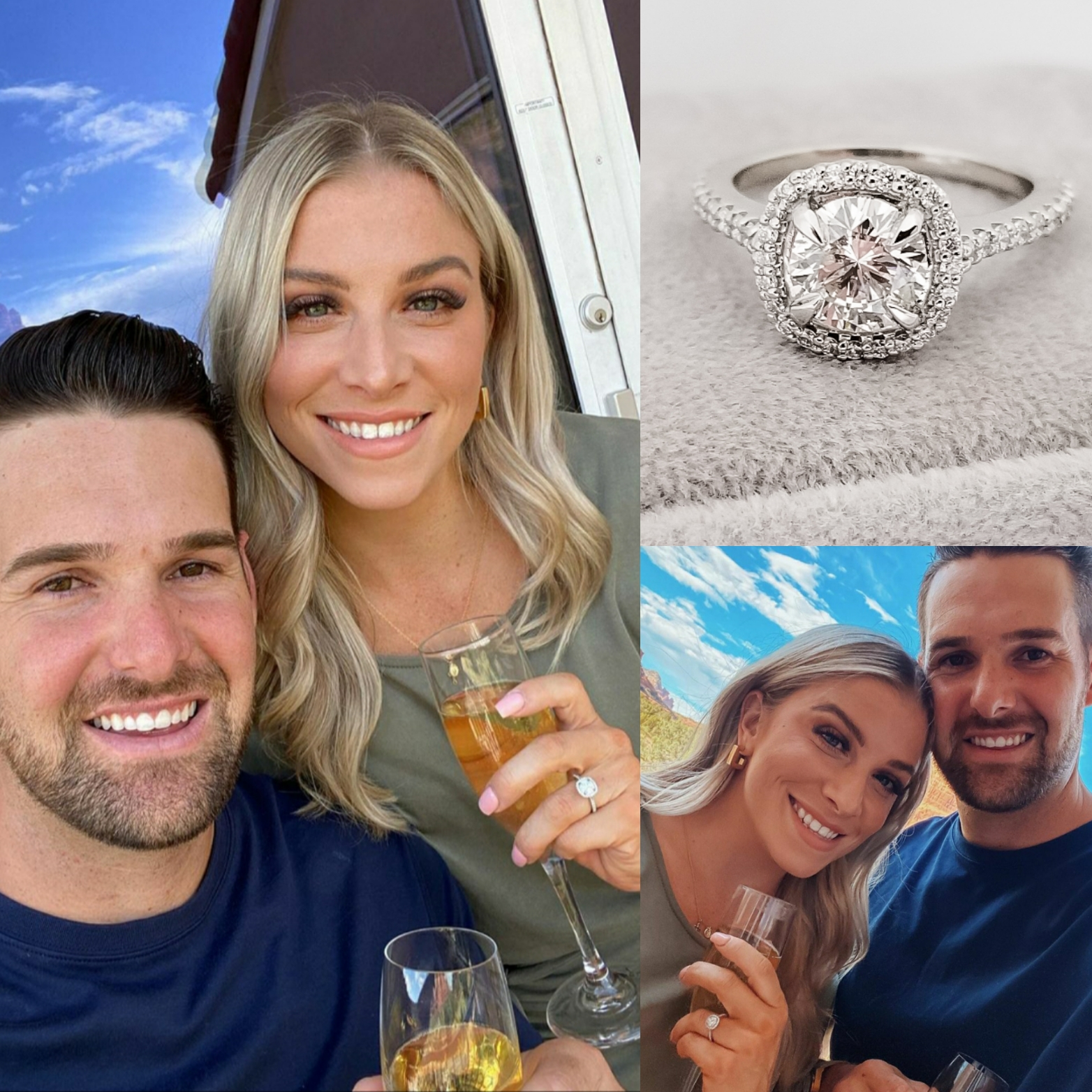 Custom Cushion Halo Engagement Ring with Diamond Accents
