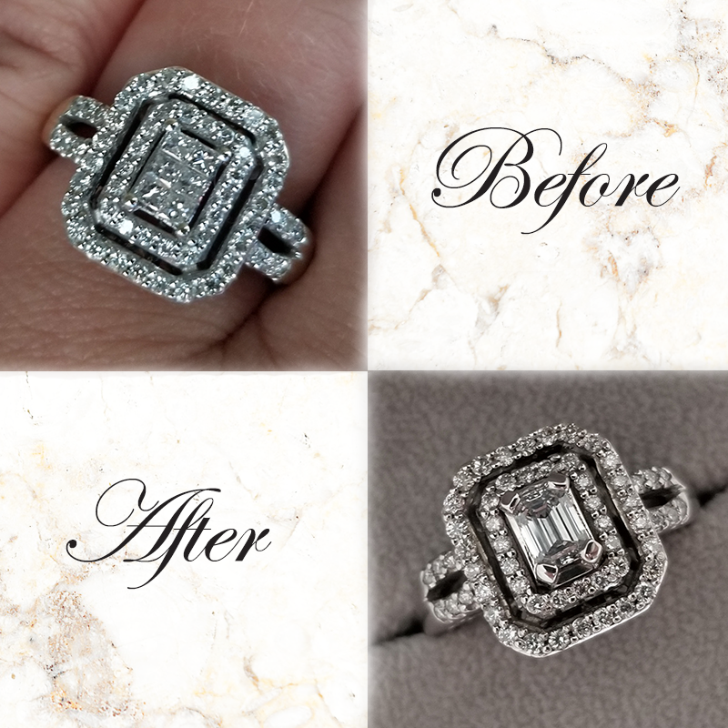 Altering an engagement ring with a new center stone