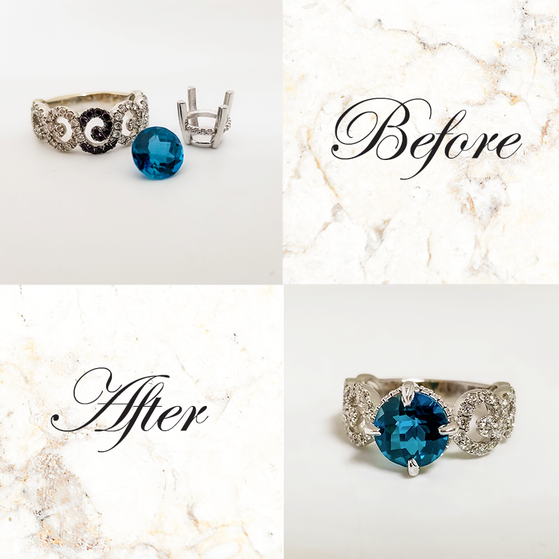 Custom work to alter a blue topaz ring on a diamond band