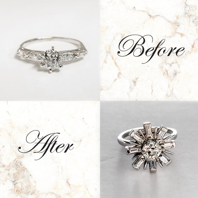 Setting an old cut diamond in a new mounting