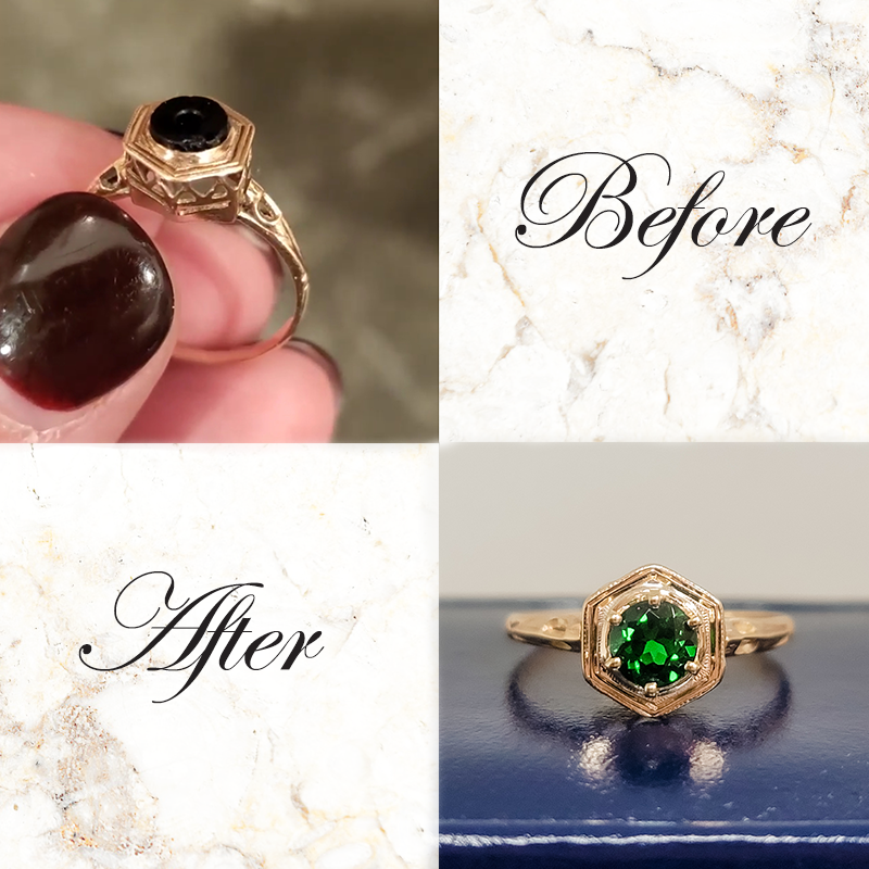jeweler setting a new stone in an old vintage mounting
