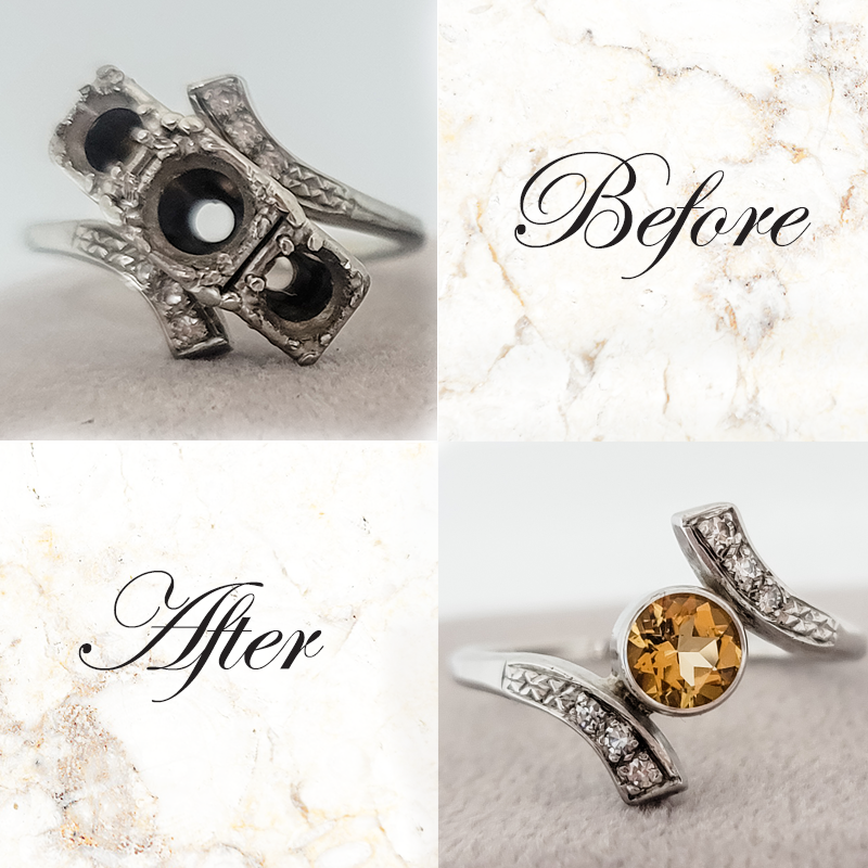 Redesigning a vintage ring into a modern citrine ring