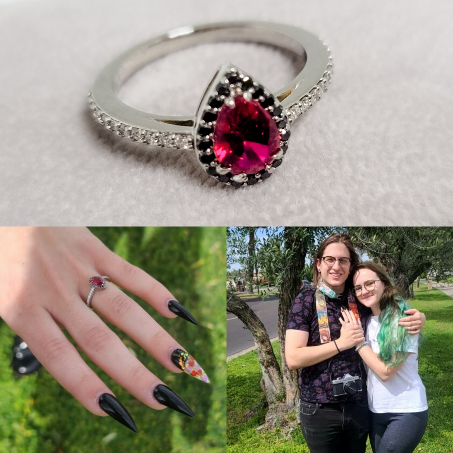 Wedding proposal with red stone engagement ring