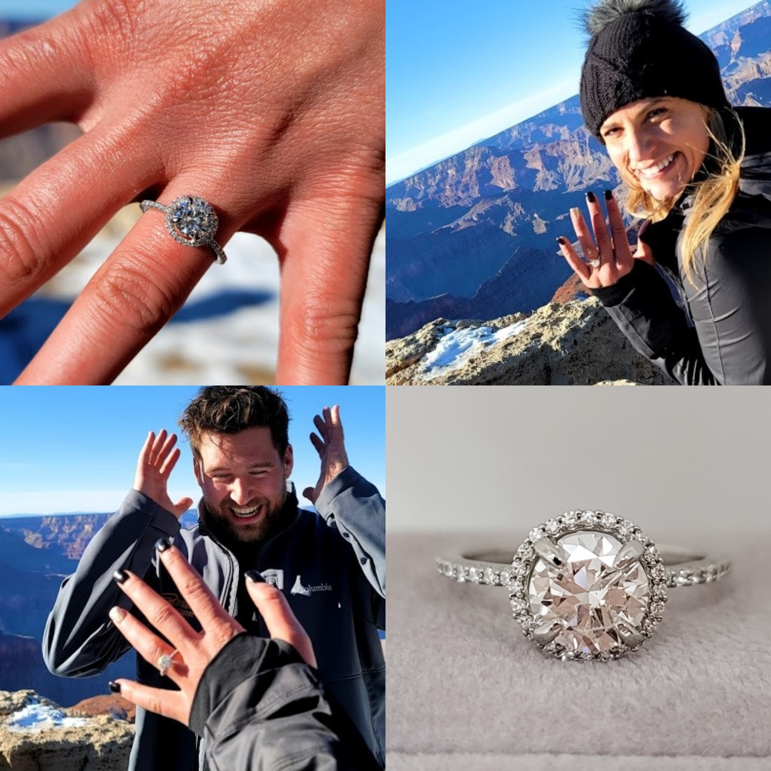 Couple getting engaged while hiking