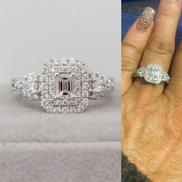 Newly engaged woman wearing an emerald cut halo engagement ring